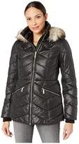 MICHAEL Michael Kors Short Down with Faux Fur Trim Hood M424153TZ (Black) Women's Coat