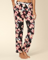 Soma Intimates Drawstring Ankle Pajama Pant Dotted Floral Black
