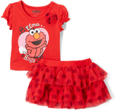 Children's Apparel Network Red Elmo Hugs Tee & Skirt - Toddler