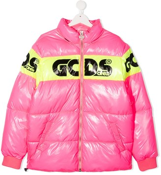Gcds Kids TEEN logo-stripe puffer jacket