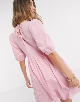 New Look mini poplin smock dress in pink