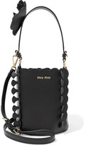 Miu Miu Appliquéd Leather Bucket Bag - Black