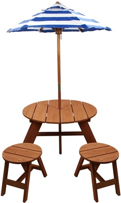 Homeware Homewear Wood Round Table with Umbrella and 2 Chairs