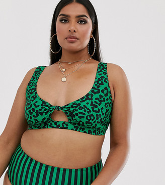 Wolf & Whistle Curve Exclusive Eco knot front bikini top in animal