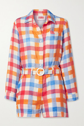Solid & Striped Belted Gingham Linen Playsuit - Orange