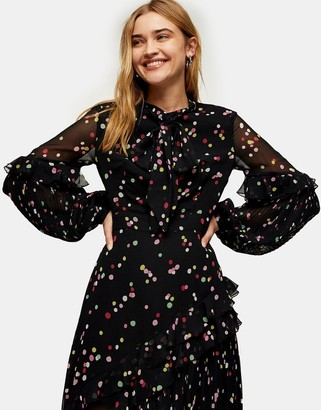 Topshop confetti rainbow dot midi dress in black