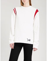 Calvin Klein Striped-shoulders cotton-jersey sweatshirt