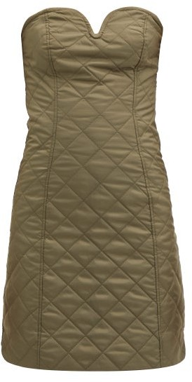 Ganni Strapless Quilted Recycled-ripstop Mini Dress - Khaki