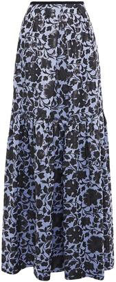 Erdem Pleated Metallic Jacquard Maxi Skirt