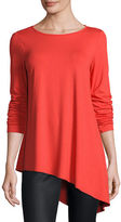 Eileen Fisher Lightweight Round-Neck Draped Top, Plus Size