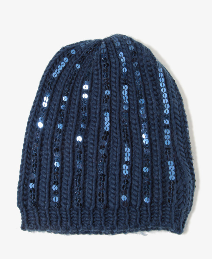 Forever 21 Sequined Purl Knit Beanie