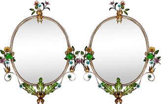 One Kings Lane Vintage Italian Floral Tole Mirrors - Set of 2 - Von Meyer Ltd.