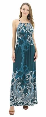 BENANCY Women Halter Neck Long Beach Dresses Sleeveless Print Maxi Dress mb-Green XL