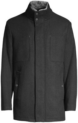 Andrew Marc Westerhall Rabbit Fur-Trim Stand Collar Coat