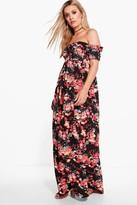 Boohoo Plus Cara Off The Shoulder Floral Maxi Dress multi