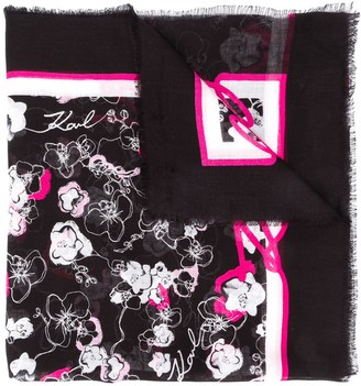 Karl Lagerfeld Paris Orchid Print Square Scarf
