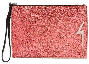 Giuseppe Zanotti G-glitter Appliqued Glittered Leather Pouch