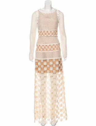 Self-Portrait Crochet Midi Dress beige