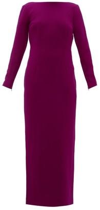Rebecca De Ravenel Jamie Scoop-neck Wool-crepe Maxi Dress - Dark Pink
