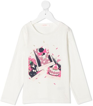 Billieblush graphic-print long-sleeve T-shirt