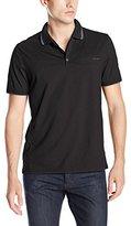Calvin Klein Men's Slub Interlock Hd Logo Short Sleeve Polo Shirt