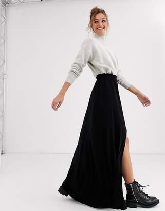Asos Design DESIGN maxi skirt with shirred waist-Black