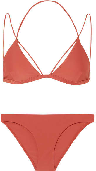 Dion Lee Fine Line Triangle Bikini - Brick