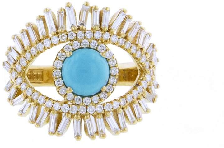 Suzanne Kalan Large Diamond and Turquoise Evil Eye Ring - Yellow Gold