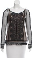 ALICE by Temperley Lace-Trimmed Mesh Top