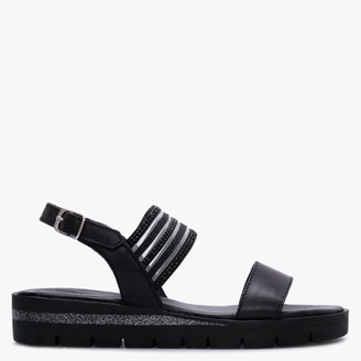 Daniel Lily Black Leather Embellished Two Strap Sandals