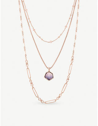 Kendra Scott Vanessa multistrand 14ct rose-gold plated necklace