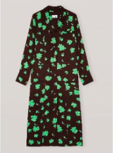 Ganni Printed Crepe Shirt Dress - 36 | brown | viscose | Green leaf print - Brown/Brown