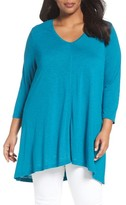 Sejour Plus Size Women's Slub Knit V-Neck Tunic