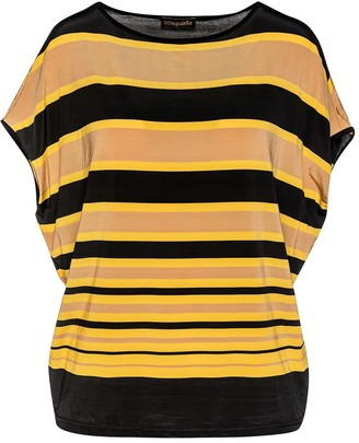 Conquista Striped Sleeveless Top In Stretch Jersey Fabric
