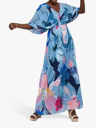 Monsoon Erica Pleated Floral Print Kaftan Dress, Blue/Multi