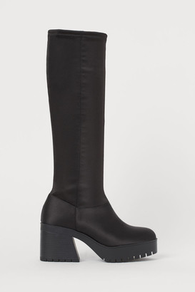 H&M Satin Platform Boots - Black