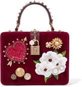 Dolce & Gabbana Dolce Box Leather-trimmed Embellished Velvet Tote - Burgundy