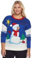 It's Our Time Juniors' Plus Size Light-Up Christmas Sweater