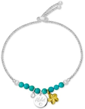 Kona Bay Aloha Charm Imitation Turquoise Slider Bracelet in Fine-Silver Plate