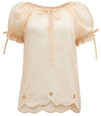 Innika Choo Daily Graind Embroidered Linen Blouse - Beige