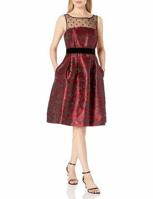 Eliza J Women's Rose Print Fit & Flare Dress