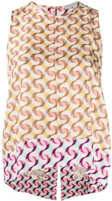 Olivia Palermo Optic-Print Trapeze Vest