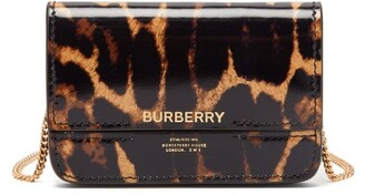 Burberry Jody Leopard-print Chain-strap Leather Wallet - Leopard
