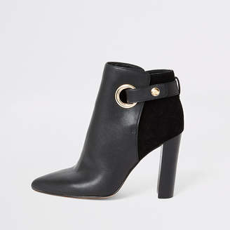 River Island Black eyelet strap wide fit heeled boots