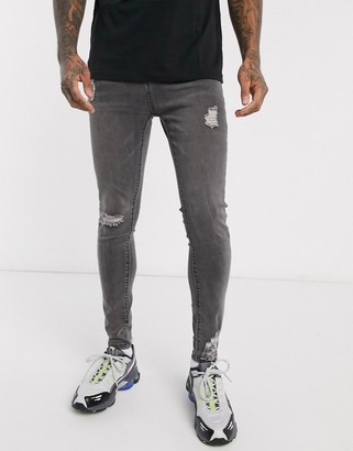 Liquor N Poker skinny fit jeans with abraisons in gray wash