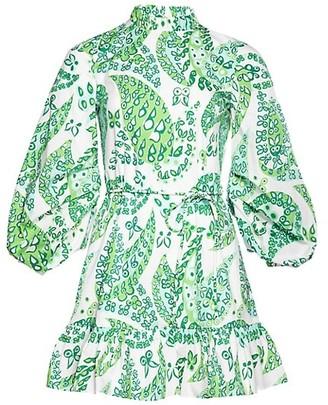 STAUD Carolina Puff-Sleeve Floral A-Line Dress