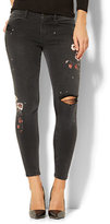 New York & Co. Soho Jeans - Destroyed Floral Screen-Print Ankle Legging - Black