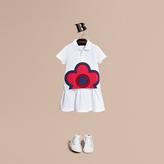 Burberry Floral Appliqué Detail Cotton Shirt Dress