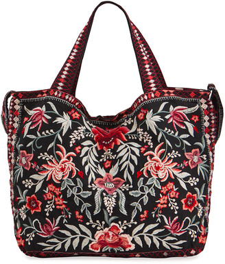 Johnny Was Tayshia Floral Embroidered Linen Tote Bag