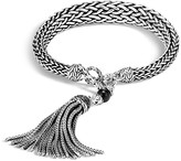 John Hardy Sterling Silver Classic Chain Graduated Tassel Bracelet with Black Onyx and Black Sapphire